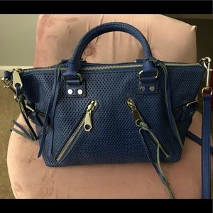Rebecca Minkoff Blue Perforated Leather Moto Purse